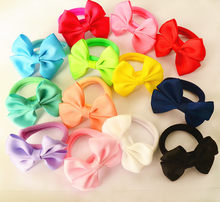 10 Pcs/set Solid Plain Color Girls' Bow Hair Ties Elastic Bands Kids Accessories(China)
