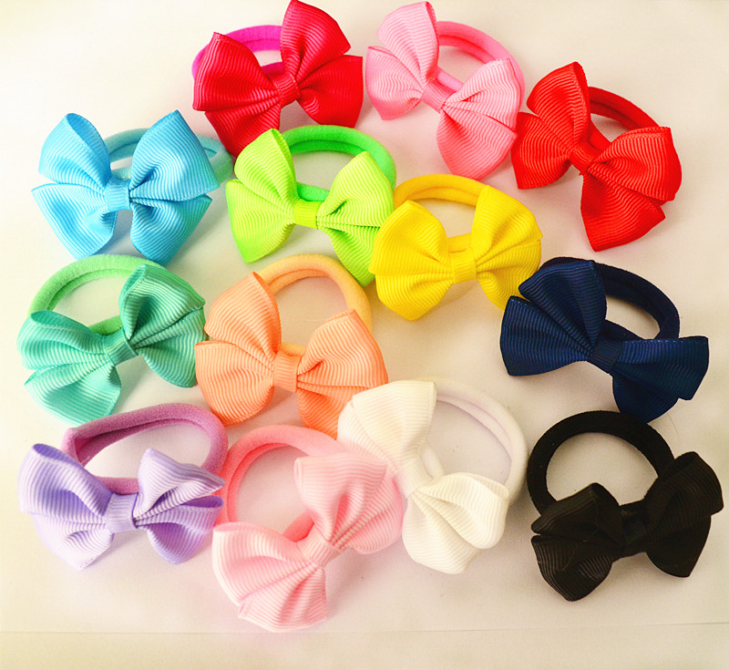 Girl's Hair Accessories Provided 10 Pcs/set Solid Plain Color Girls Bow Hair Ties Elastic Bands Kids Accessories Pt025 High Quality Materials