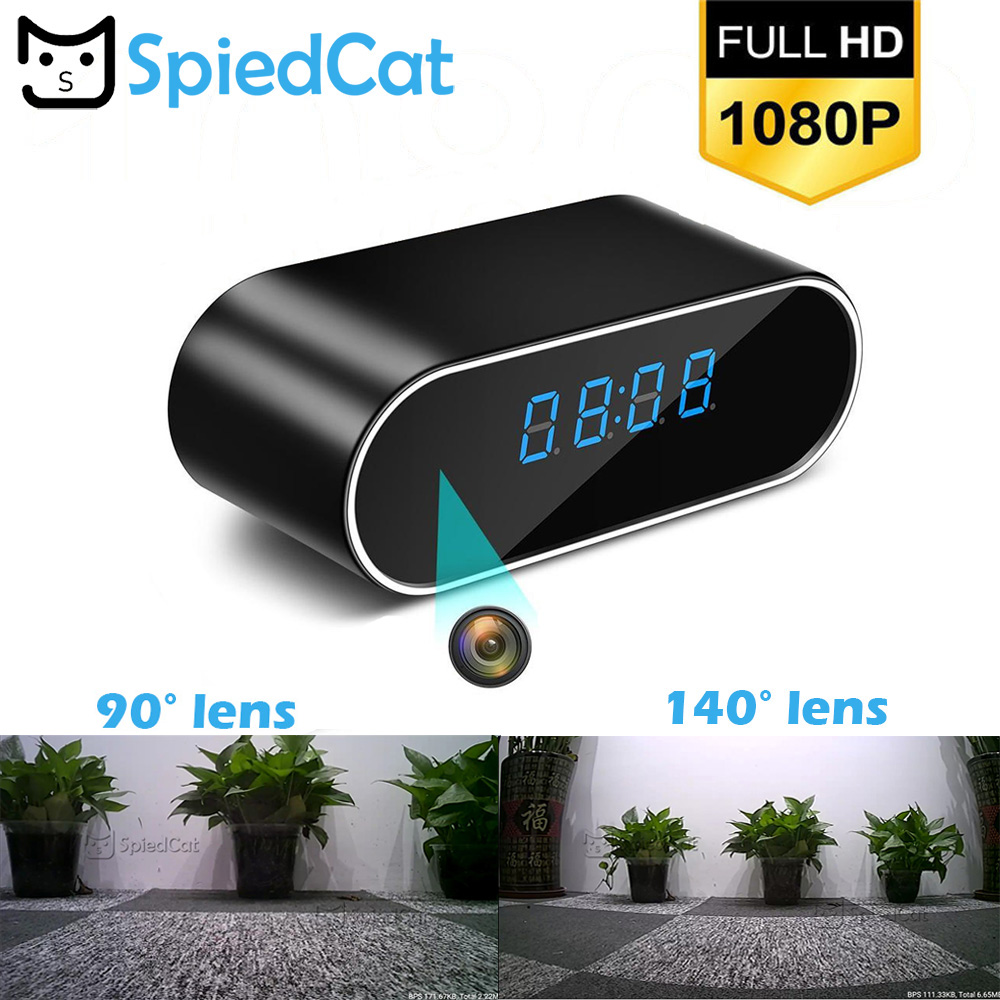 SPIED CAT Wireless Nanny Clock 1080P WIFI Mini Camera Time Alarm P2P IP/AP Security