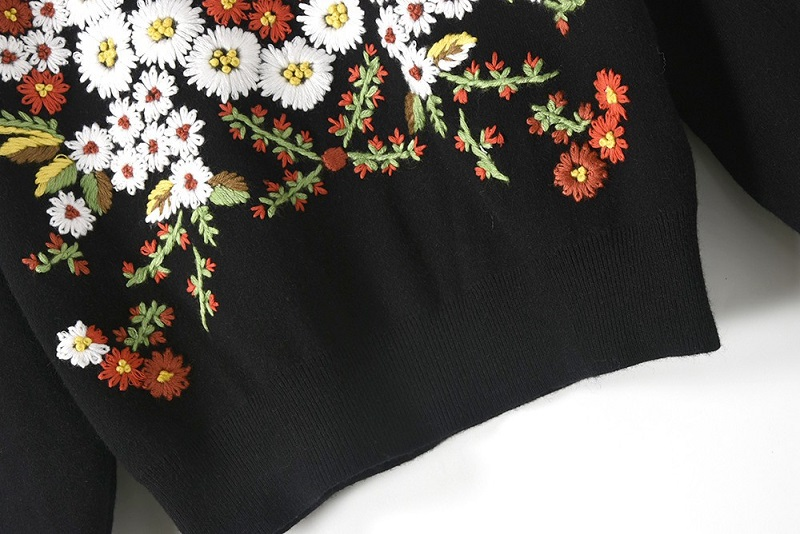 Femme 2018 Marguerite Femmes Black Jumper Tricot Tops Broderie Hiver Vintage Surdimensionné De Chandail Pull Luxe qxTfwCTOX