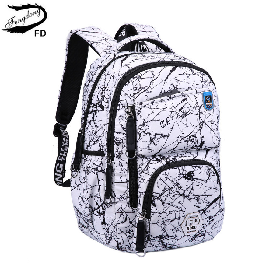 FengDong kids school backpack for girls female printing laptop backpack women travel bags student notebook bag 14 15.6 schoolbag