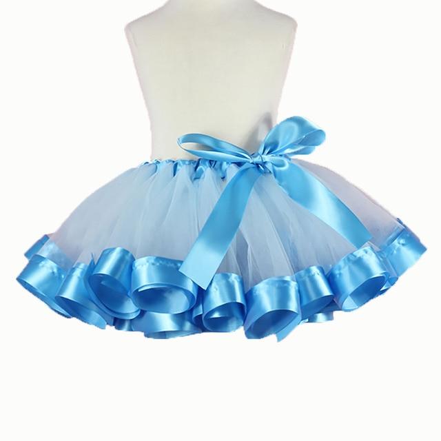 Handmade Fluffy Kids Girls Tutu Skirt Blue Tutu Baby Girl Tulle Skirt Birthday Party Tutus Casual Petticoat Girls Skirts 2-12Y
