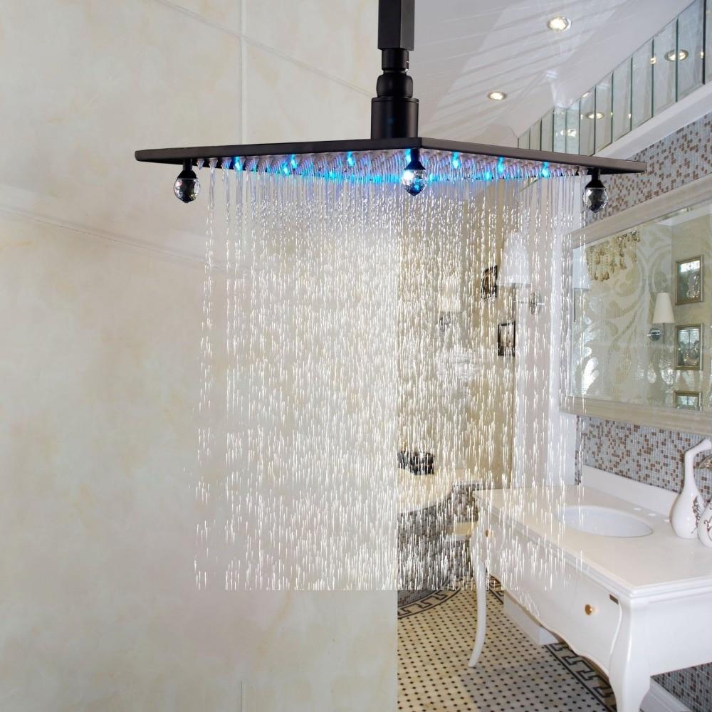 LED Light 12 Top Spray Bathroom Rainfall Shower Head Oil Rubbed Bronze allen roth brinkley handsome oil rubbed bronze metal toothbrush holder