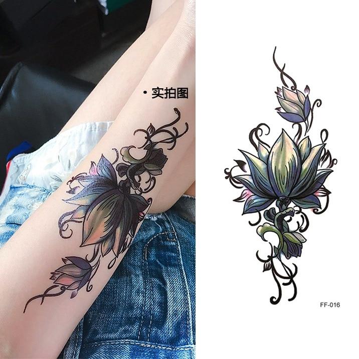 Us 111 Waterdichte Tijdelijke Tattoo Sticker China Inkt Bloem Lotus Tattoo Vrouwen Body Art Water Transfer Nep Tattoos Flash Tatto In Tijdelijke