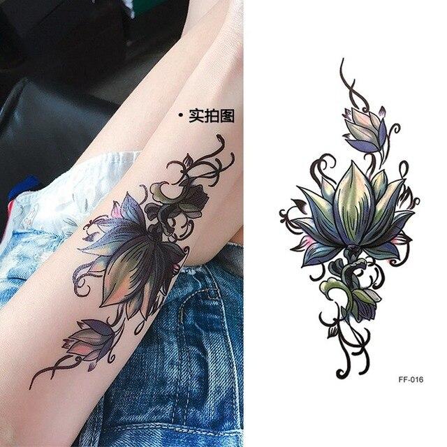 Etanche Autocollant De Tatouage Temporaire Encre De Chine Fleur