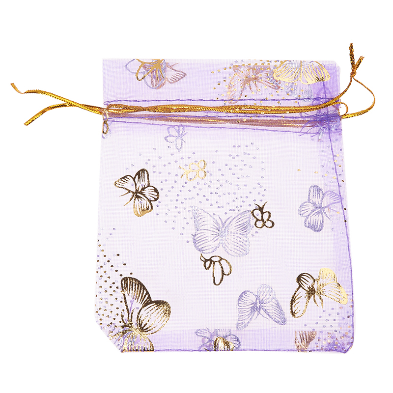Practical Boutique 100pcs Butterfly Drawstring Organza Wedding Gift Jewellery Candy Pouch Bags purple(China)