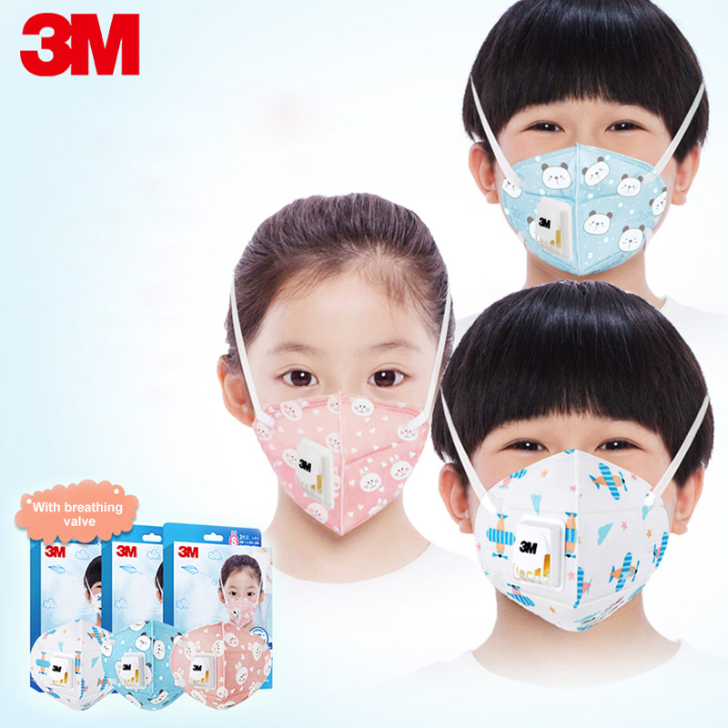 3m Children Dust Mask KN95 Respirator Anti-fog PM2.5 Dustproof Anti Influenza Kids Cartoon Pattern Safety Breathing Masks