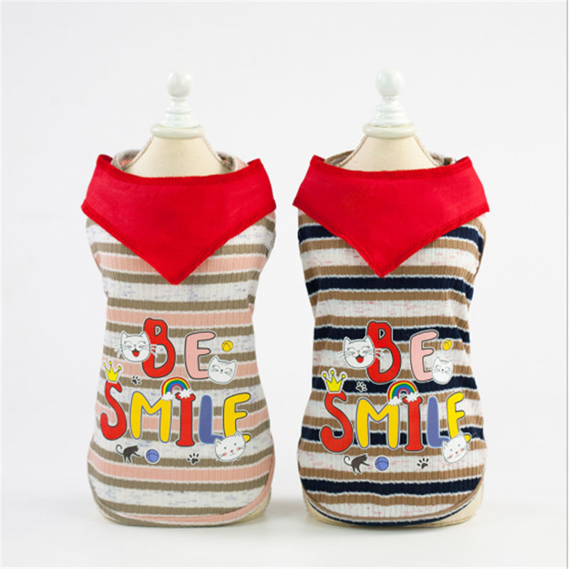 Dog Shirt Cartoon Summer dog Vest T Shirt Vest 2019 Small Dog Cat Striped Clothes Apparel in Dog Coats Jackets from Home Garden