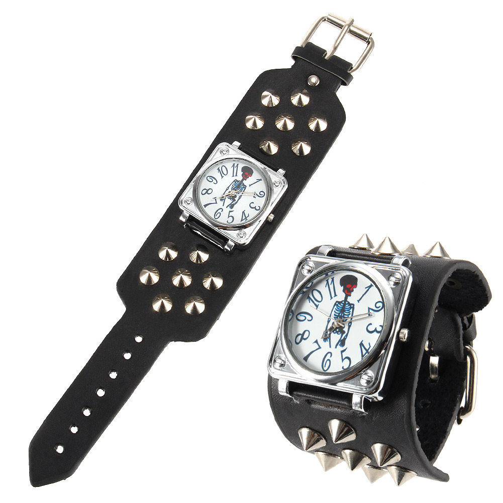 Women Men Punk Style Quartz Wrist Watch with Skeleton Pattern Dial Wide Rivet Strap Cool Watches LL@17 футболка print bar ll cool j