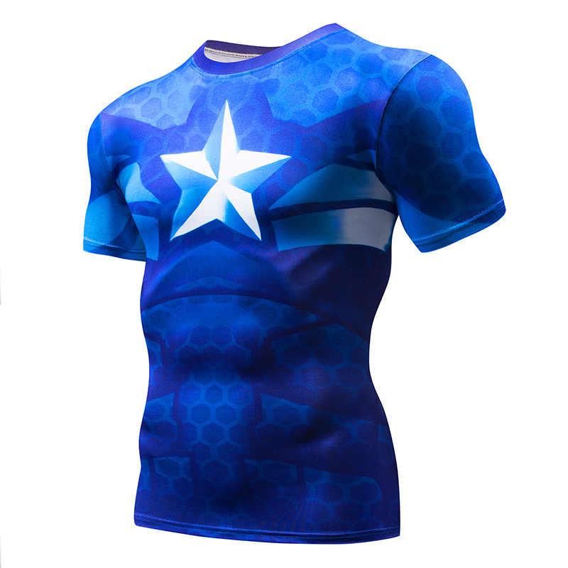 Lengan Pendek 3D Tengkorak/Superman Pria CrossFit T-shirt Captain America T-shirt Pria Jogging Kurus Kompresi Kemeja MMA Top