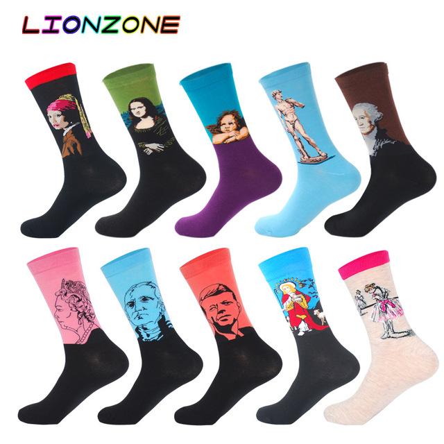 10 Pairs/Lot Men Socks Combed Cotton Brand  Famous Oil Painting Striped Totem Ling Plaid Funny Happy Dress Male Sock + Free Gift