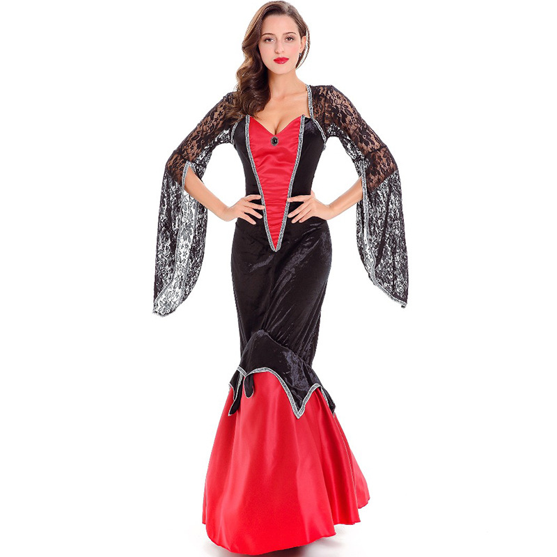 Red Deluxe <font><b>Halloween</b></font> <font><b>Sexy</b></font> <font><b>Adult</b></font> Women Lace Vampire Countess Costumes <font><b>Witch</b></font> Queen Party Dressess Female Drama performance clothes image