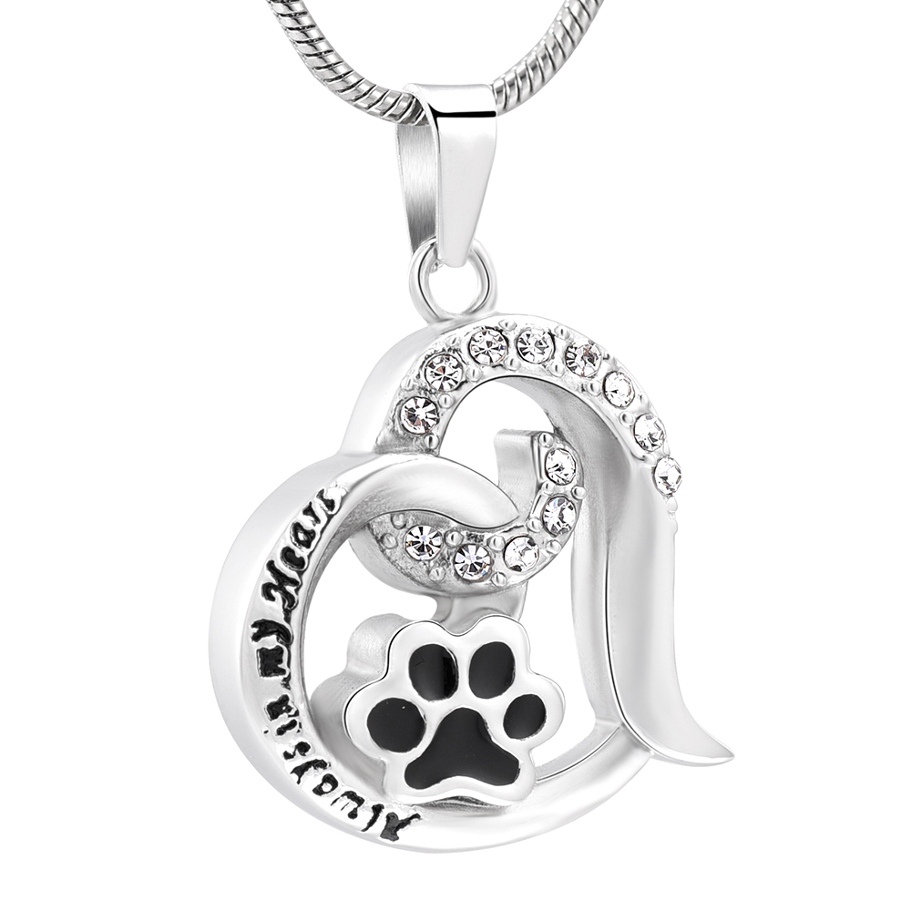 IJD10031 Impress <font><b>Jewellery</b></font> Paw in Heart Memorial Urn Necklace Stainless Steel Cremation Pendant for Pet <font><b>Dog</b></font>/ <font><b>Cat</b></font> Ashes Keepsake image