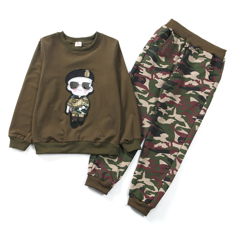 New Boys Sports Suits Spring Autum Children Clothing Camouflage Long Sleeve T-Shirt+Pants 2 Pcs Kids Tracksuit 4 6 8 10 12 Years штаны для мальчиков 2014 new fashion spring autumn children pants 1 ccc325 casual camouflage trousers for boys sports