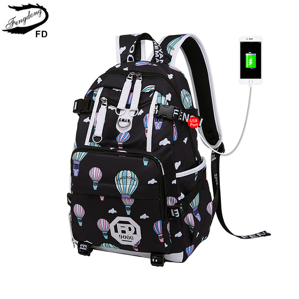 FengDong female anti theft backpack usb bag women luggage travel bags ball decoration bagpack fashion laptop backpack for girls