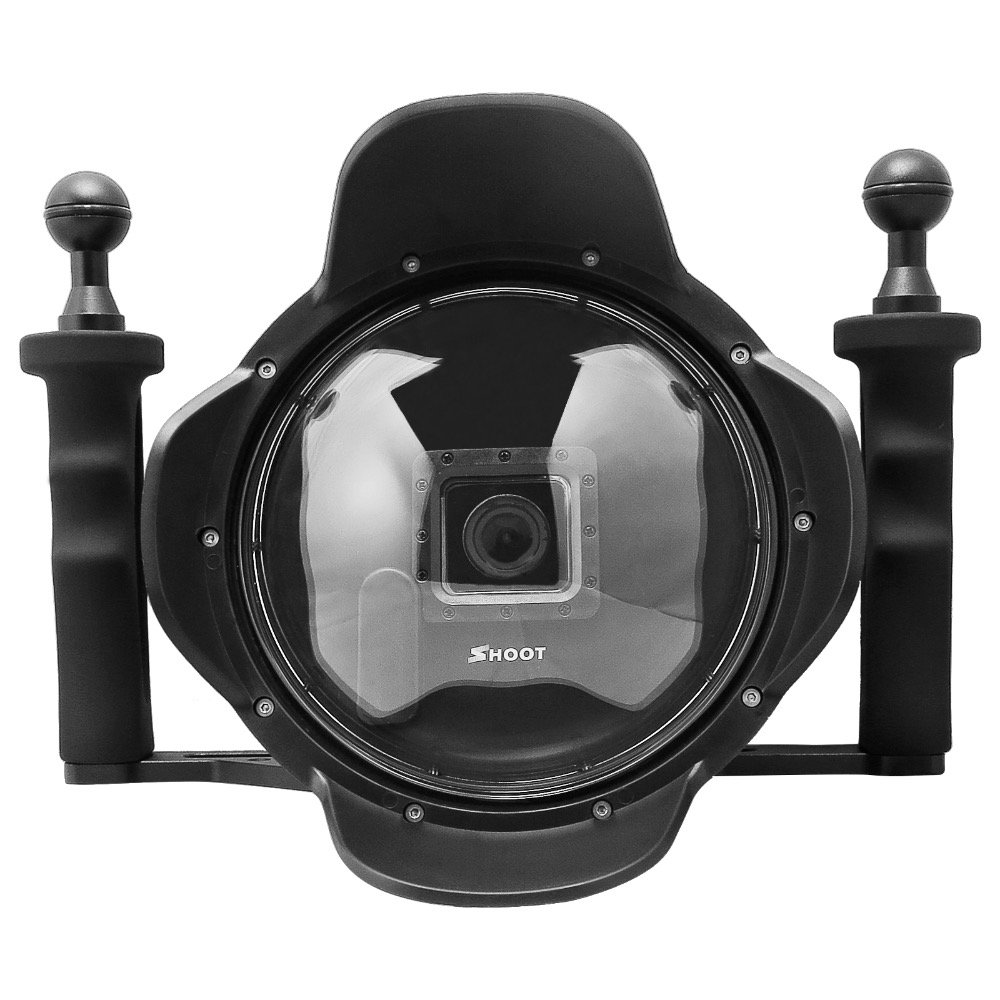 все цены на 6'' inch Diving Lens Hood Dome Port for Gopro Hero 3+ 4 With Go pro Heightening Waterproof Housing Case LCD Screen Suit онлайн