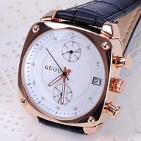 GUOU Brand Korea TT Fashion Square Watch Vintage Leather Watch Strap Watch Fashion Personality Table Table