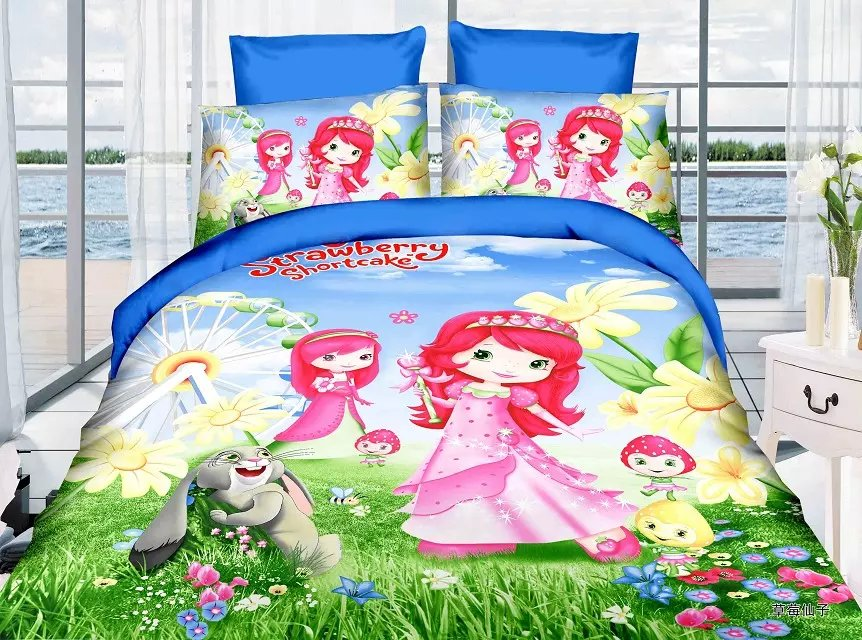 strawberry shortcake bedding sets Girl's Children's bedroom decor single twin size bed sheets quilt duvet cover 3pcs no filler