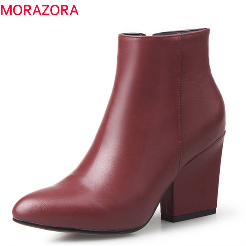 MORAZORA 2018 hot sale boots women zipper genuine leather boots short plush autumn winter ankle boots pointed toe shoes woman цена