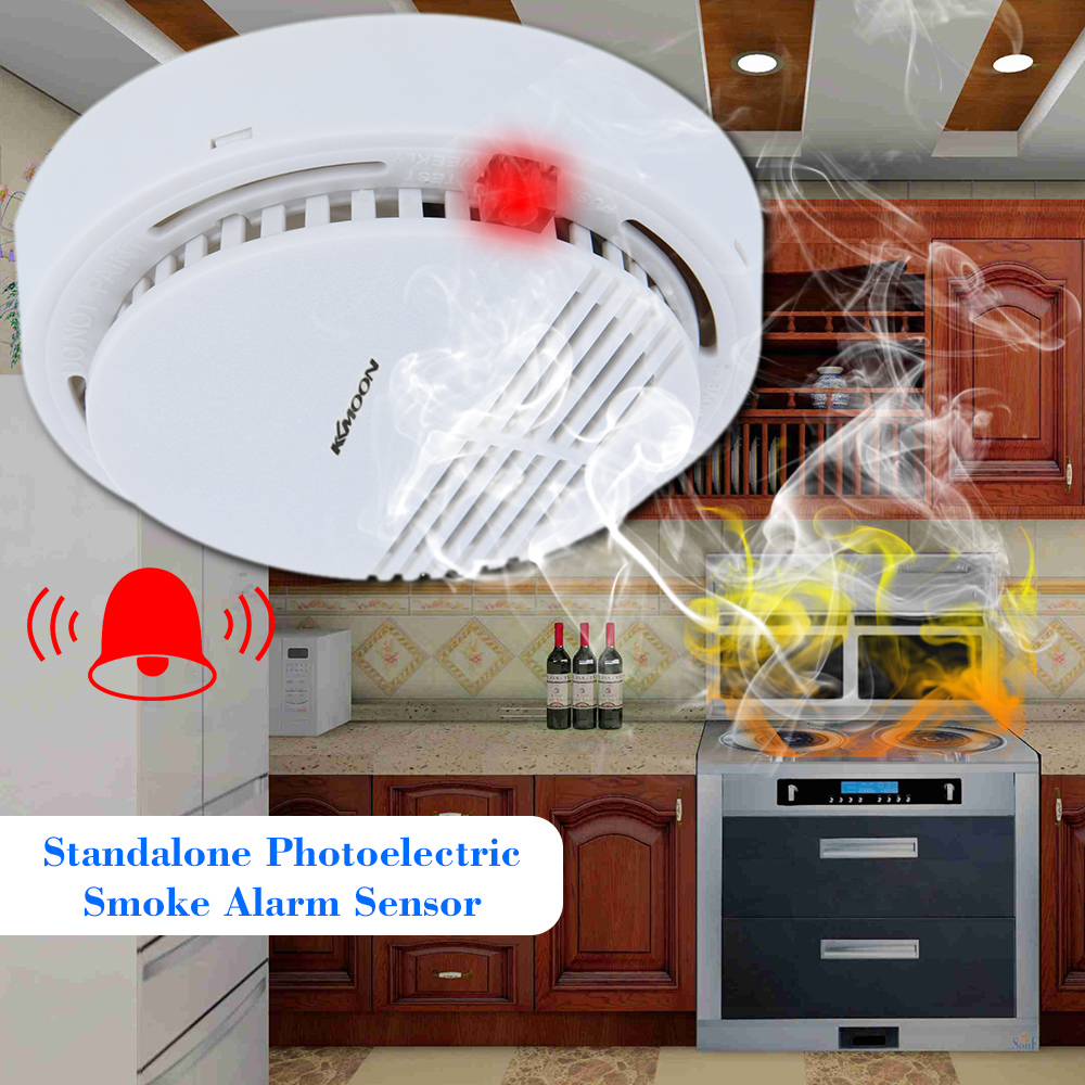 9V Standalone Photoelectric Smoke Alarm Fire Smoke Detector Sensor Home Security System For Home Kitchen