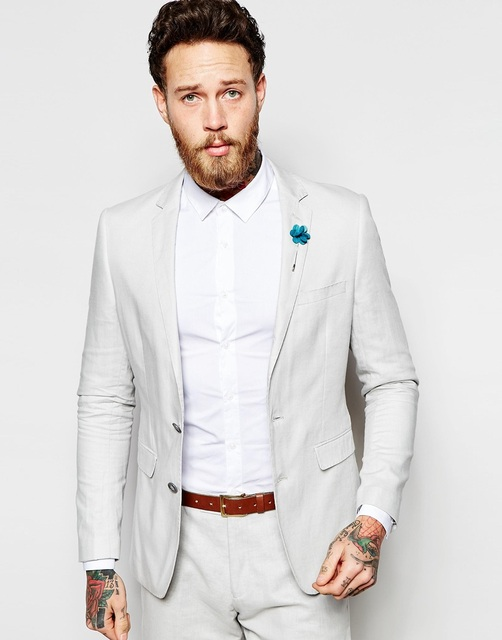 Latest Coat Pant Designs Ivory White Beach Casual Custom Wedding Suits For Men Groom Best Man