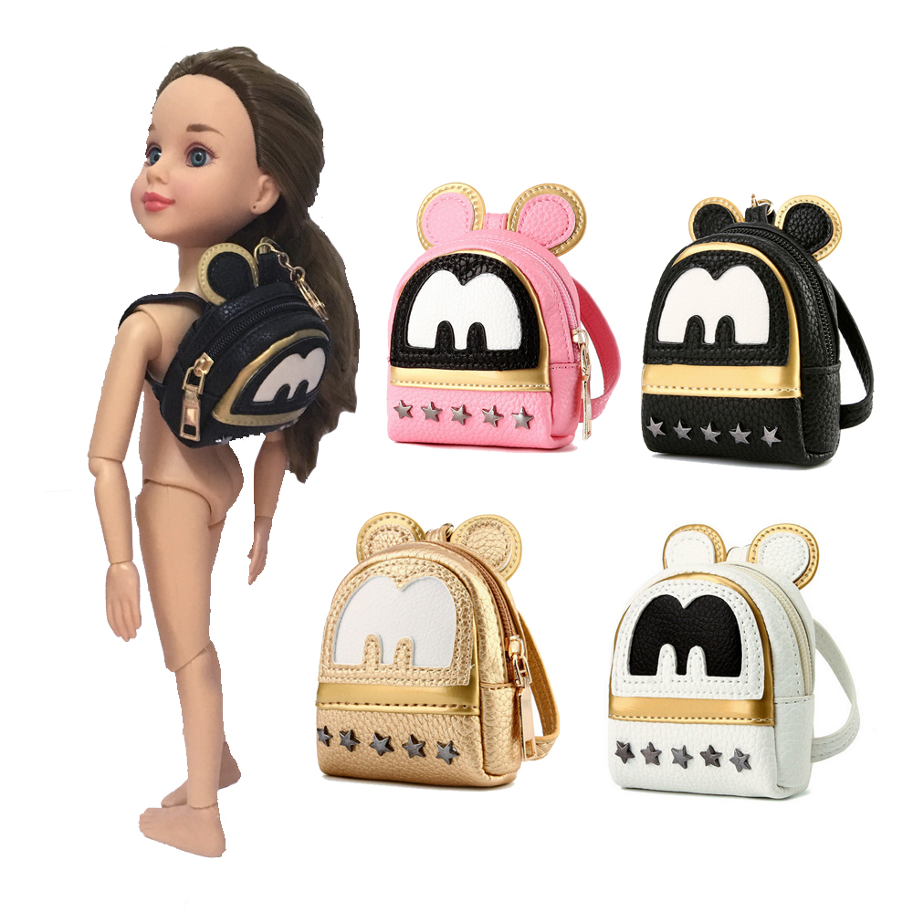 1pcs Dolls Backpack big ears Star rivet bags for BJD 1 4 1 6 16inch fit