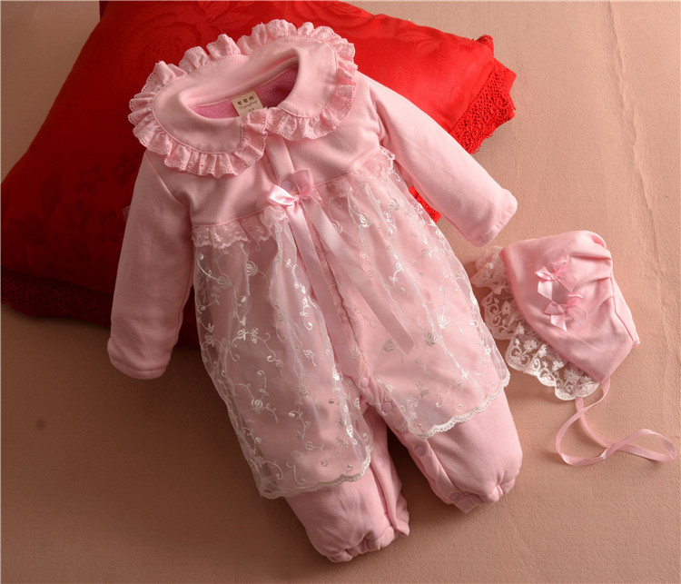 New Winter high quality Baby girl Christening full pink Velvet Rompers Gown wedding newborn formal Baptism Rompers+hat 0-10M skullies beanies newborn cute winter kids baby hats knitted pom pom hat wool hemming hat drop shipping high quality s30