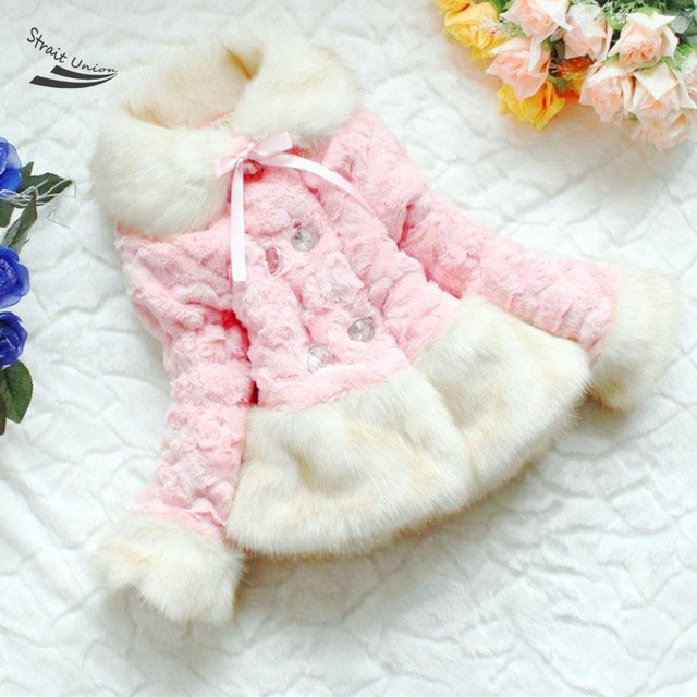 HOT Girls Faux Fox Fur Coat Clothing With Bow Autumn Winter Wear Clothes Baby Children Outerwear Jacket 34