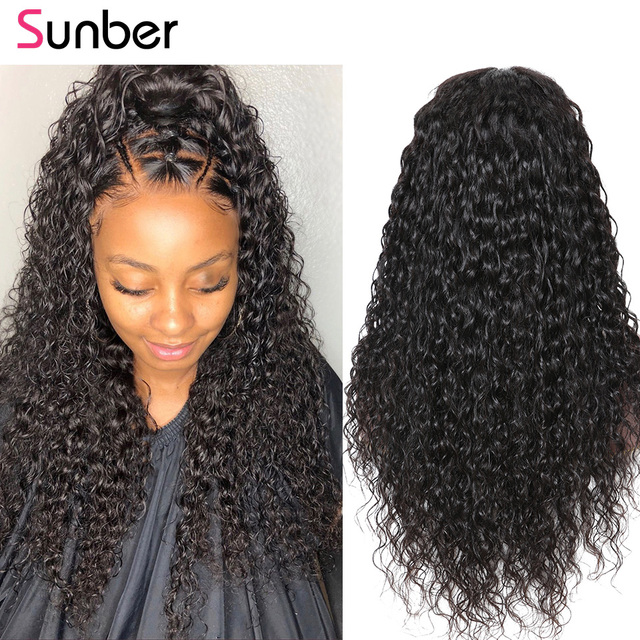 Sunber hair Water Wave 13*6 Brazilian Lace Front Human Hair Wigs 150%/180% density Lace Front Wig Remy Hair 10-24 inch