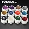 12 Colores de La Mezcla Botella Nail Art Glitter UV Gel Constructor Polaco Set de Uñas de Acrílico Arte Decoraciones Azar Enviar Pro de Uñas Belleza