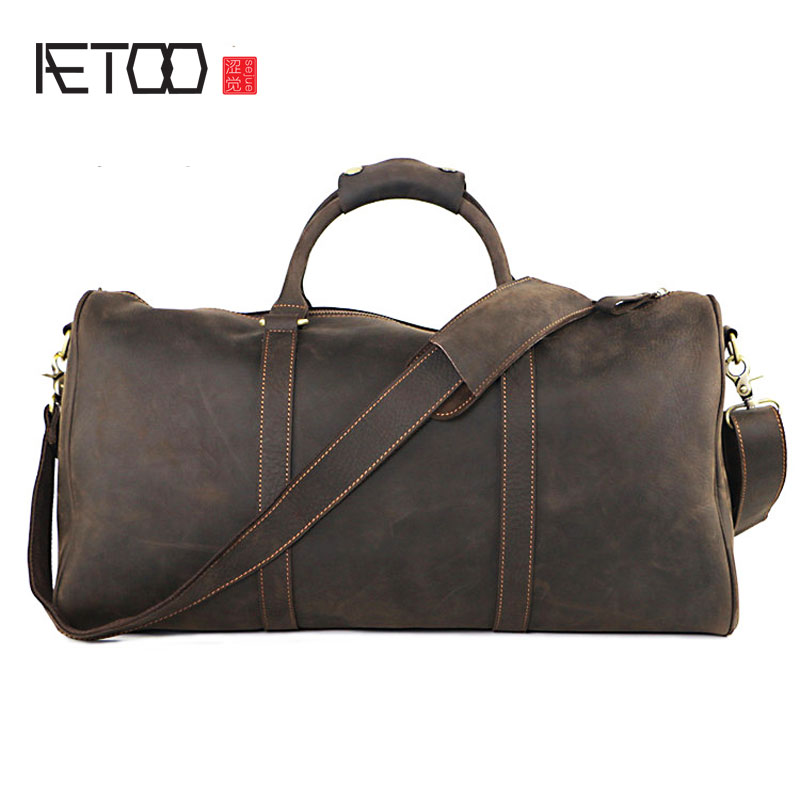 AETOO Travel bag Europe and the United States retro mad horse leather men's handbag leather large capacity luggage bag europe and the united states style first layer of leather lychee handbag fashion retro large capacity solid business travel bus