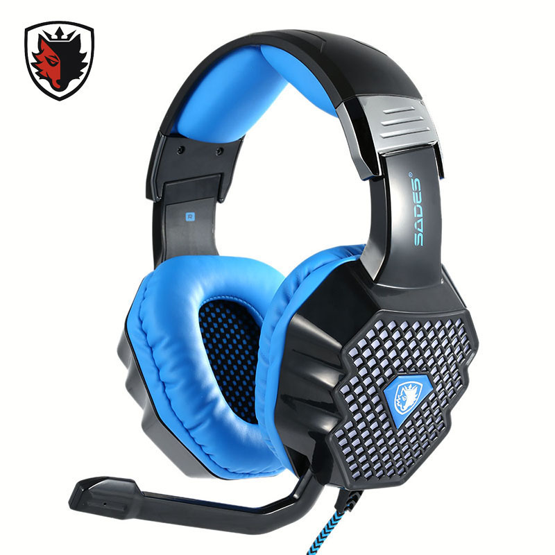 ФОТО Sades Gaming Headphones 7.1 Surround Sound Stereo with Volume Control Breathing LED Light Headsets for Computer PC Video Gamer
