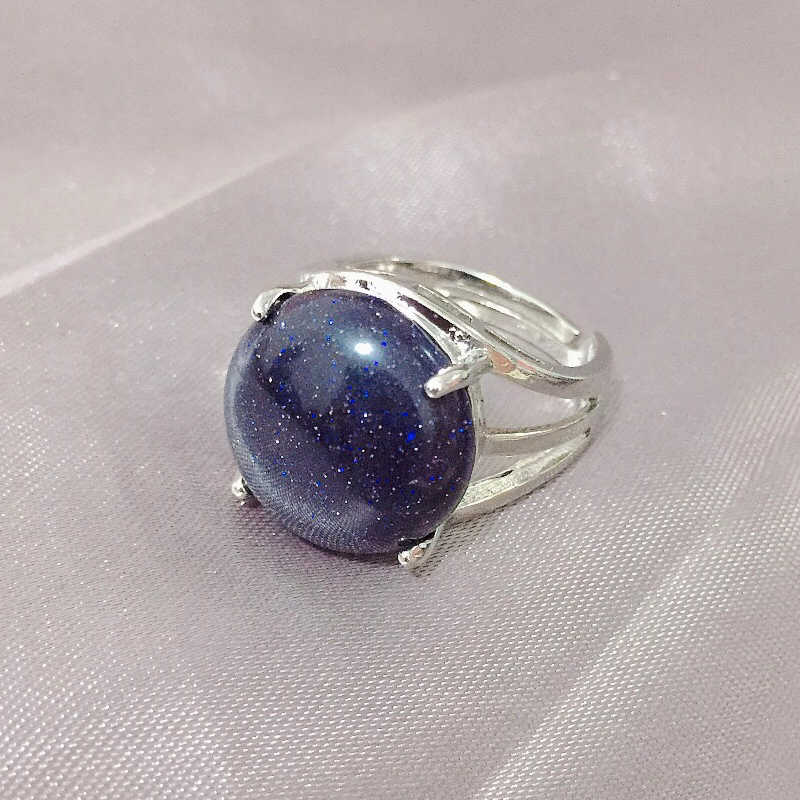 Anillo completo hueco Piedra Natural anillos de dedo lapislázuli amatistas reales ópalo piedra de cuarzo fiesta mediados anillos de boda joyería de mujer
