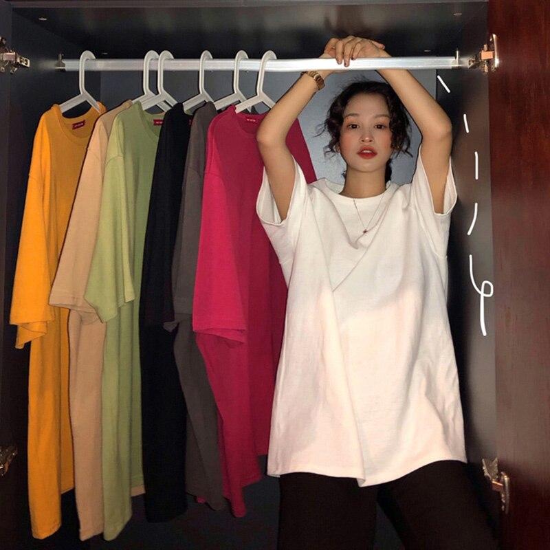 Oversize Camiseta 7 Harajuku Cor Sólida Básica T-shirt Das Mulheres Casuais Verão novo longa Tops Moderno Coreano Camisa Branca de T dropship