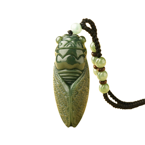 Handwork Natural Dark Green HeTian Jade Carved Cicada Lucky Amulet Pendant Fine Jewelry(China)