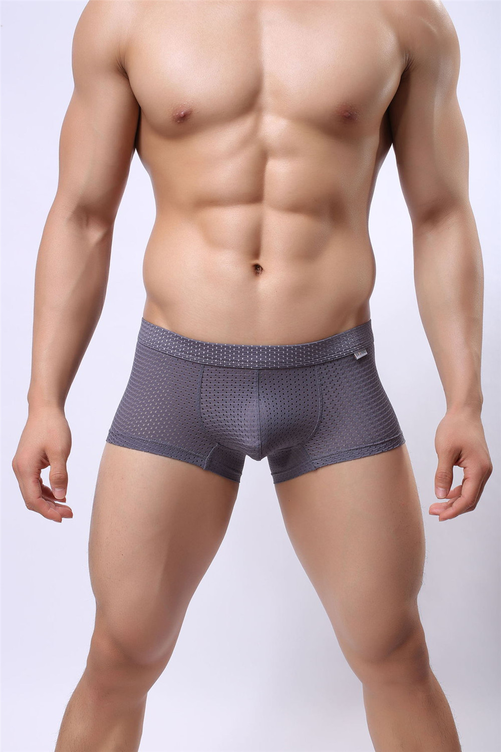 Brand Boxer shorts Men gay Underwear Mesh Breathable Men solid mesh underwear U Convex Pouch Design Sexy Boxers Male underpants