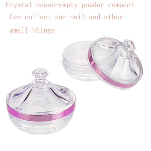 2pcs Empty Transparent Acrylic Refillable Castle Style Powder Puff Box Make-up Loose Powder Box Powder Container Jar Jewel Case