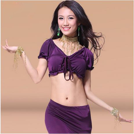 New Arrival Milk Silk Belly Dance Top Momen Short Sleeves Belly Dance Body Tops Sexy Top 9 Colors