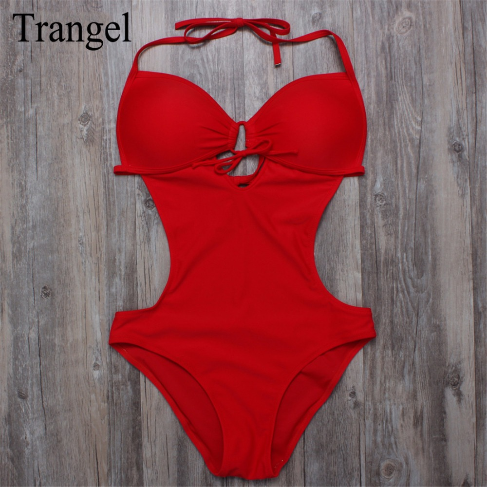 Trangel backless swimsuit one piece swimwear push up one piece bikini women halter biquini beach wear red black blue color BF333 brief candy color lace up one piece swimwear for women