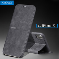 X Level For IPhone X Case X Level Extreme Luxury Business PU Flip Leather Kickstand Phone