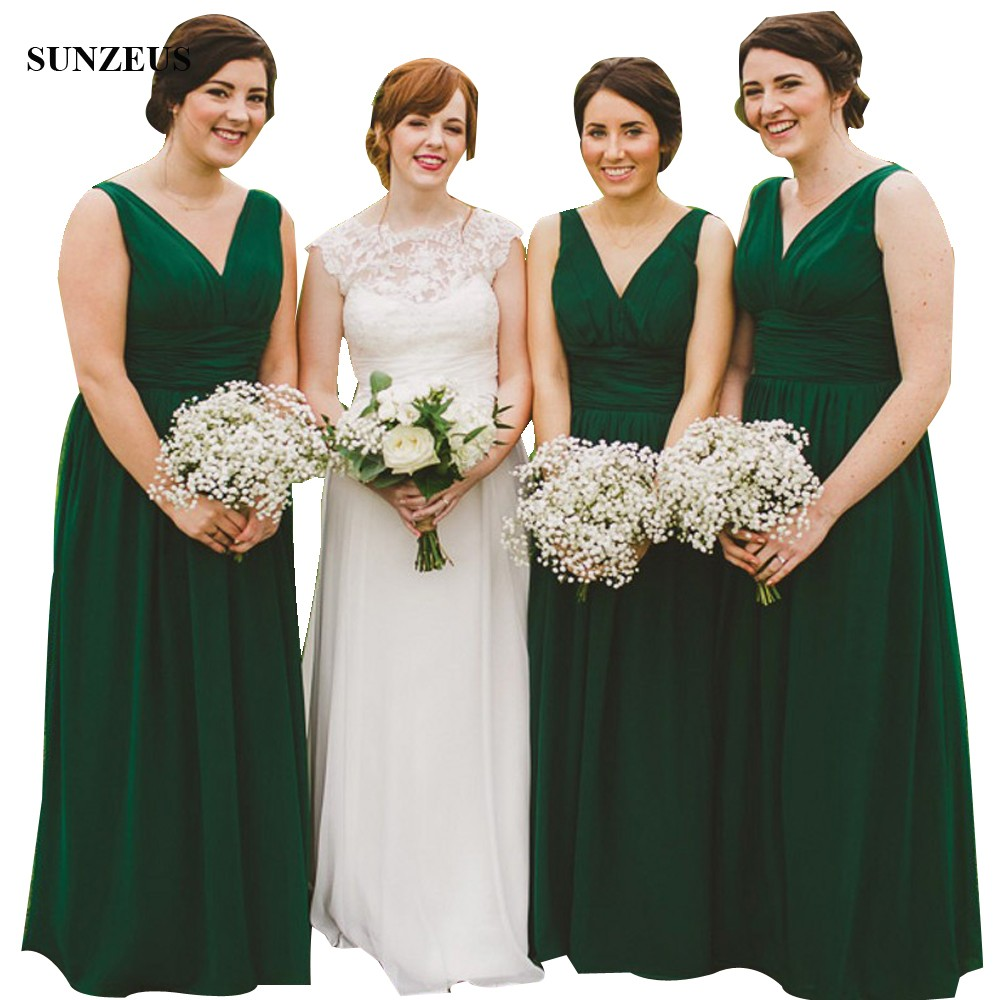 Emerald Green   Bridesmaid     Dresses   Elegant A-line V-neck Long Chiffon Wedding Party   Dress   Vestidos De Gala BDS016
