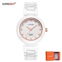 LongBo 2018 New White Ceramice Women Watch High Quality Wristwatches Womens Quartz Exquisite Diamond Dial Relojes Mujer