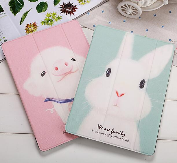 Cute Animal Print Case for Ipad Air2 II Ipad6 Smart Cover, Ultrathin pu leather 9.7 inch tablet protector with clear back cover