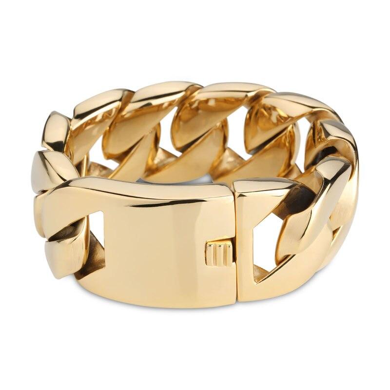 Bracelet à maillons cubains en acier inoxydable de 24mm 32mm de large pour hommes