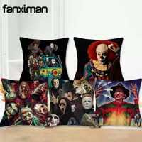 18 funda de cojín de lino funda de almohada de Horror personaje de película asesinos Chucky Jason viernes almohada cubre decoración del hogar