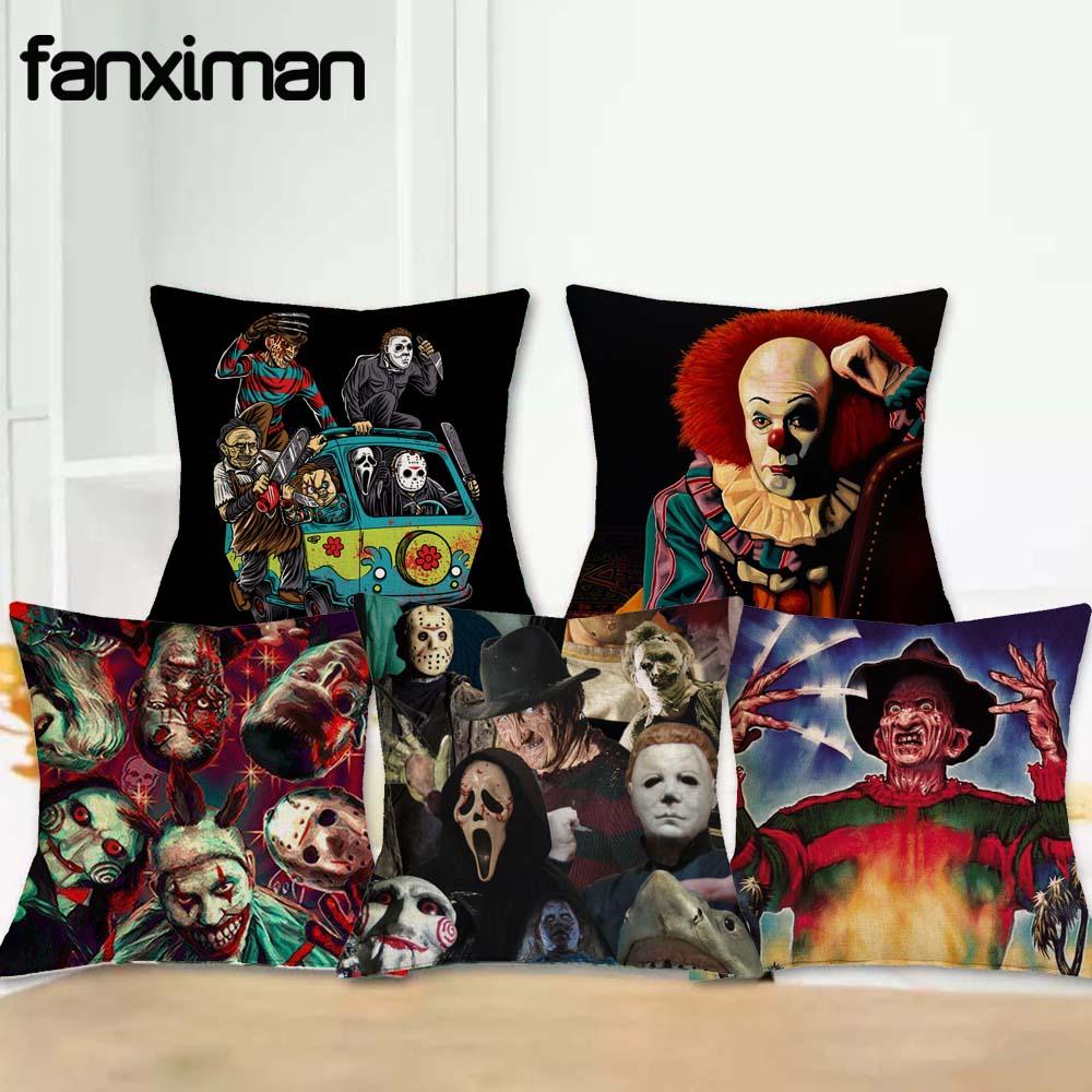 18 Linen Cushion Cover Throw Pillowcase Horror Movie Character Murderers Chucky Jason Friday Pillow Covers Home Decor