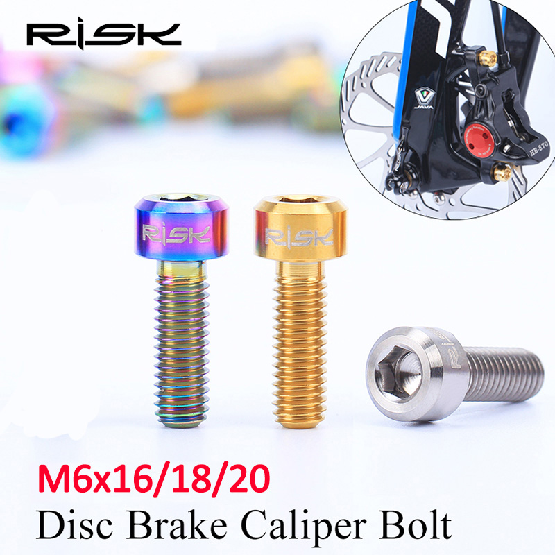 RISIKO 4 PCS M6 * 16/18 / 20mm Titanium Alloy Sepeda Disc Brake Caliper Memperbaiki Baut Sepeda MTB Minyak Rem cakram TC4 Penahan ...