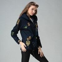 Элегантный значок вышивка завязки талии пальто блестки цепи куртка пилот куртка с капюшоном женские штормовка
