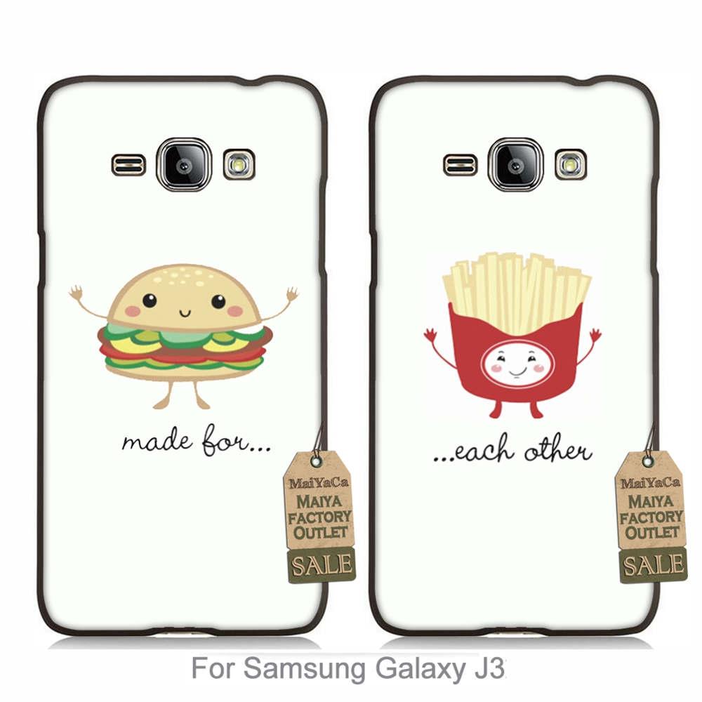 Colorida linda pareja amantes accesorios del teléfono para case j3 2015 hamburgu