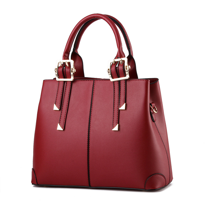Casual Fashion PU Women Handbag Wine Red Elegant Office Lady Shoulder Bag Clutch Tote Zipper tu teng women elegant doctor bag 2 way tote luxury leather pure color 2018 fashion zipper elegant design lady black khaiki red
